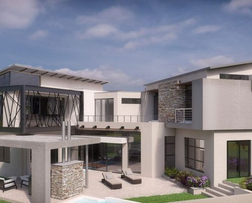 SL Architects - Khoza Residence elevated rear view