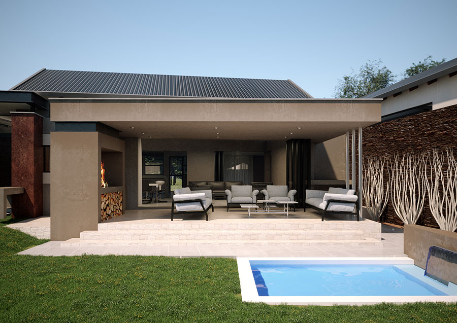 Hill Residence entertainement area - designed by SL Architects Pretoria