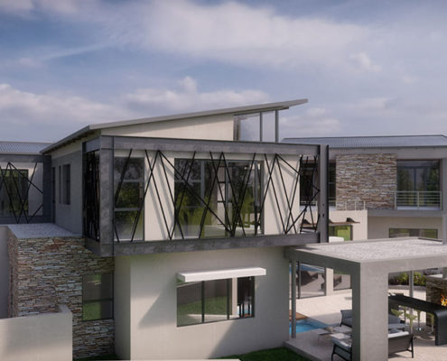 SL Architects - Khoza Residence elevated side view