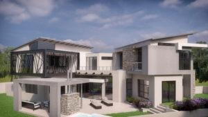 SL Architects - Khoza Residence elevated rear view